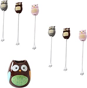 6 Pcs Owl Stainless Steel Cocktail Picks Reusable Toothpicks Fruit Sticks with Jar