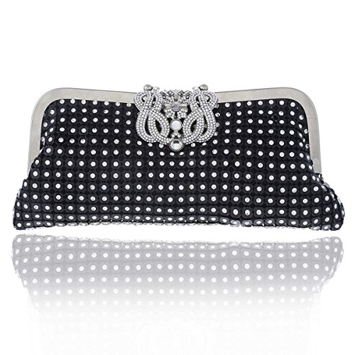 Sequins Rhinestones Clutch Womens Black Crown Wedding Damara Damara Womens TqHUW