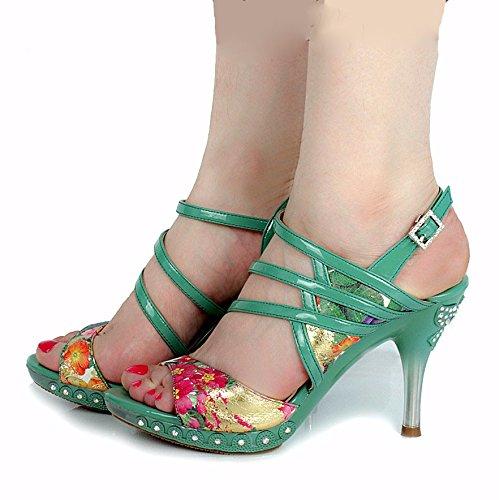 HBDLH Damenschuhe atmungsaktiv bequem Sommer Damenschuhe Druck Bohren Ganz Unten Dünnen Absätzen Hohe Schuhe Sandalen.