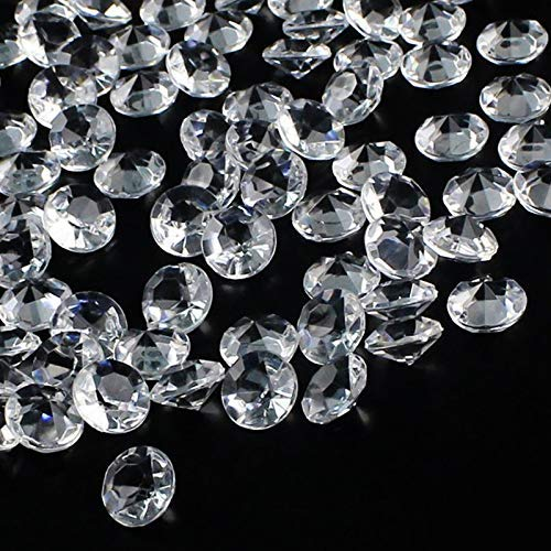 OUTUXED 1000pcs Clear Wedding Table Scattering Crystals Acrylic Diamonds Wedding Bridal Shower Party Decorations Vase Fillers, 10mm, with 1 Large Velvet Pouch -