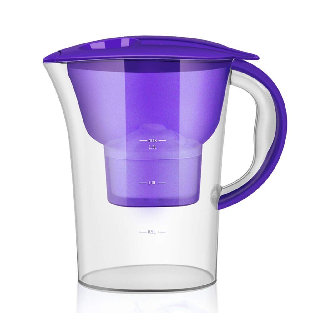 GETMORE7 Water Filter Jug, 2.5L BPA-Free Water Pitcher Filter Kettle Purifier with 1 Filter Element for Filter Replacement Indication Home and Camping Filtration (261127cm,Purple)