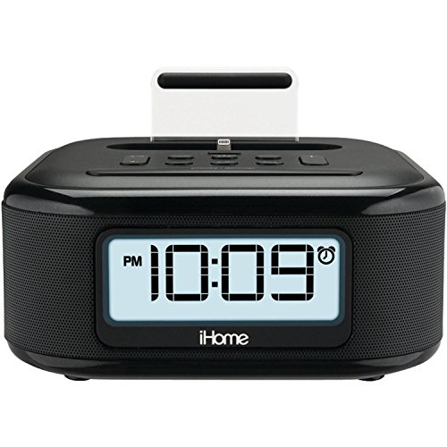 iHome iPL23 Stereo FM Clock Radio with Lightning Dock Charge/Play for iPhone 5/5S 6/6Plus 6S/6SPlus 7/7Plus from iHome