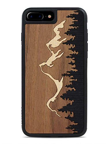 Wood Traveler Case (Carved Grand Teton Inlay - Apple iPhone 7 Plus Traveler Wood Case - Black Protective Bumper with Real All Wooden)