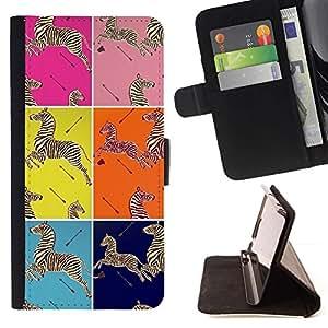 For HTC One M9 Case , Elegantes cuadrados patrón Animales- la tarjeta de Crédito Slots PU Funda de cuero Monedero caso cubierta de piel
