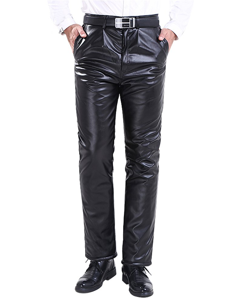 Idopy Men`s Winter Classic Business Faux Leather Pants with Velvet Lined 30