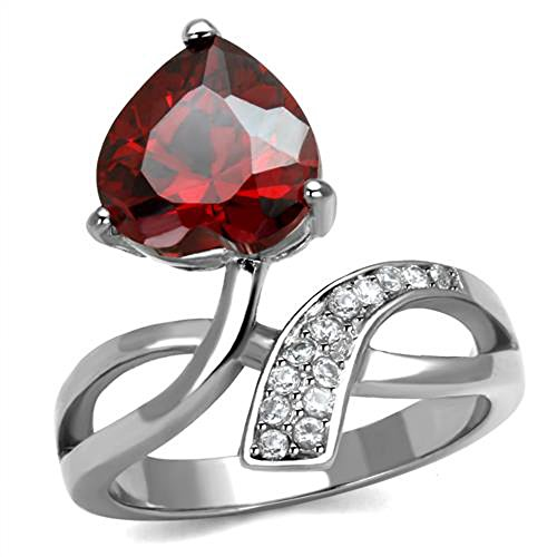 3.22 Ct Heart Shape Garnet Color Cz Stainless Steel Fashion Ring Womens Sz 5-10