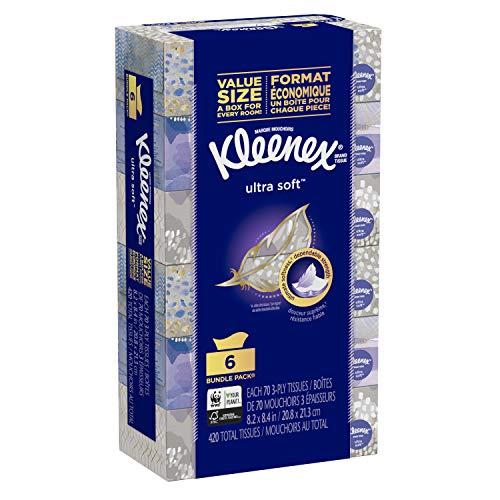 Kleenex Ultra Soft Facial Tissues, Flat Box, 70 Tissues per Box, 6 Pack (420 Tissues Total)