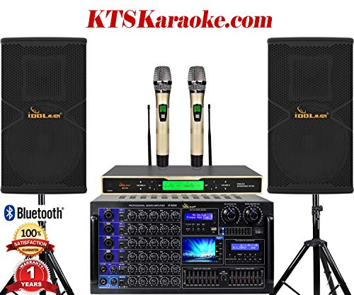 IDOLmain 6000W Full- Featured Pro Karaoke System With Power Amplifier, Mixing Amp, Wireless Mics Karaoke System