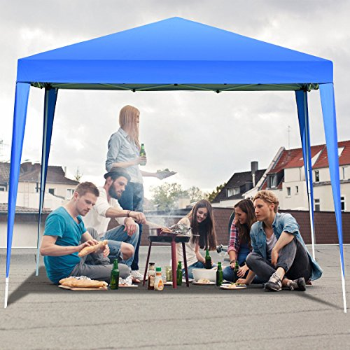 Weather All Canopy (TANGKULA Outdoor Tent 10'X10' EZ Pop Up Portable Lightweight Height Adjustable Study Instant All Weather Resitant Event Party Wedding Park Canopy Gazebo Shelter Tent with Carry Bag (Blue))
