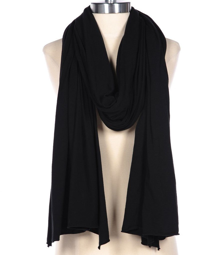 Fluxus Nomad Scarf in Black Unisex List Shawl Wrap Cotton Made in USA