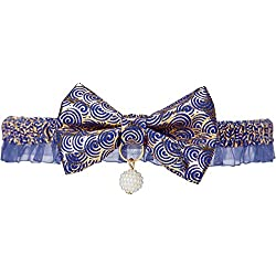 """Blueberry Pet 18 Designs Gold Print Lucky Clouds Breakaway Lace Choker Cat Collar in Blue with Handmade Bow Tie and Pearl, Safety Elastic Stretch Collar for Cats, Neck 8.5""""-12"""""""