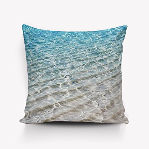Soft Square Pillowcases Cute Beach Rippled Sea Water Home Decorative Cotton Linen Throw Pillow Covers 18x18inch Case Cushion Cover Decor for Couch Bed Chair By SUN-Shine by SUN-Shine