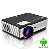 EUG Portable Android LCD Cinema Projector Full Hd LED Home Theater Wifi Projector Image System 3d 1080p USB Hdmi VGA Tv Wireless Iphone Ipad Smartphone DVD Blu-ray Xbox Ps3 Mac PPT Supported for Movie Video Games Gaming