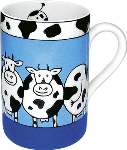 Konitz 10-Ounce Animal Stories Cow Mugs, Assorted, Set of 4 by Konitz