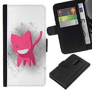 LG G3 D855 D850 D851 , la tarjeta de Crédito Slots PU Funda de cuero Monedero caso cubierta de piel ( Pink Cat Animation Big White Teeth Evil Smile)