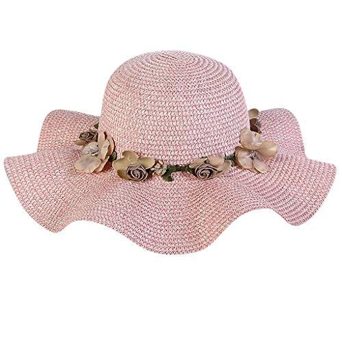 LEXUPA Women Big Wide Brim Straw Hat Colorful Flower Beach Sun Foldable Cap Pink -