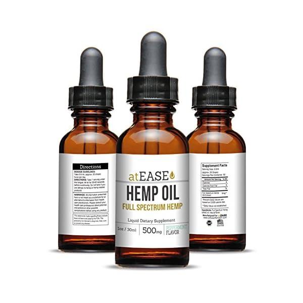 atEase Calm Hemp Oil 500mg - 1 fl oz - Full Spectrum Hemp Extract Drops  Pure, Peppermint Flavor
