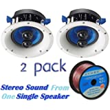 """Yamaha Custom Easy-to-install In-Ceiling 2-Way 120 watts Moisture Resistant Single Stereo Speaker - Set of 2 with a 6.5"""" PP Mica Cone Woofer & Dual 1"""" Fluid-Cooled Soft-Dome Swivel Tweeter + 100 feet of 16 Gauge Speaker Wire"""