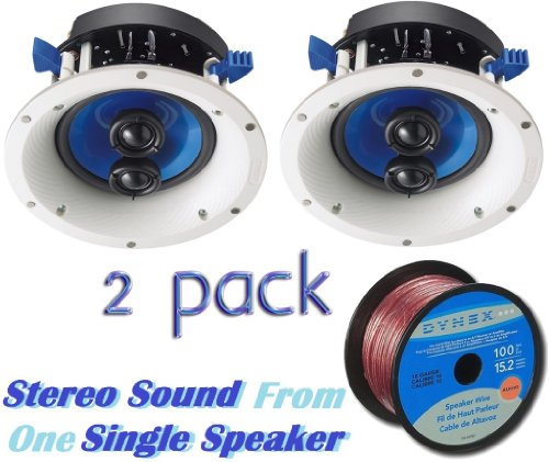 Yamaha Custom Easy-to-install In-Ceiling 2-Way 120 watts Moisture Resistant Single Stereo Speaker - Set of 2 with a 6.5