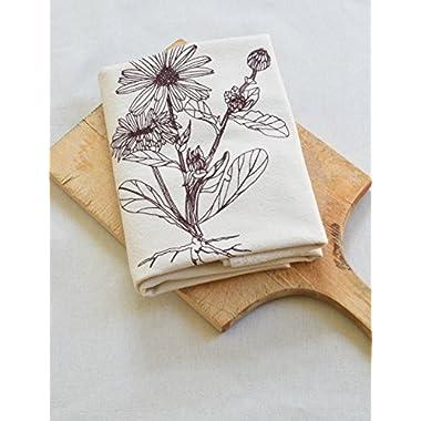 Calendula Flour Sack Towel in Deep Cabernet Red - Tea Towel - Kitchen Towel - Cotton Dishcloth