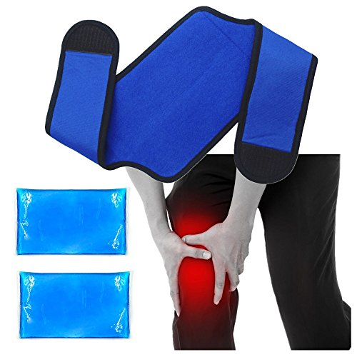 Knee Ice Gel Hot Cold Pack Wrap for Knee Pain Relief, Replacement Surgery, Sports Injuries, Swelling, Sprains, Arthritis, Meniscus Tear, Bursitis - Reusable & Flexible - 2 Ice Packs