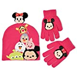 Disney Big Girls Tsum Tsum Sublimated Acrylic Knit Winter Beanie Hat With Plush 3D Minnie Mouse Head and Matching Glove Set, Pink, One Size