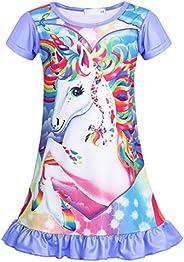 MetCuento Girls Unicorn Nightgowns Sleep Shirts Short Sleeve Sleepwear Pajamas Casual Night Dress