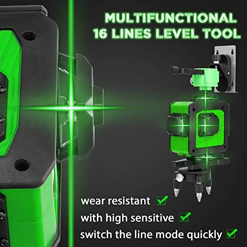 Level Machine,Multifunctional 4D 16 Lines Level Tool Vertical Horizontal Lines with Self-Leveling Function
