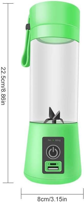 Kobwa - Vaso de licuadora portátil, recargable, mezclador de frutas, hielo, mezclador de alimentos para bebé, 400 ml, para viajar, trabajar al aire libre: Amazon.es