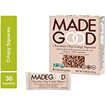 MadeGood Chocolate Chip Crispy Squares, 6 Pack (36 ct); Crispy Rice with Decadent Chocolate Chips; School-Safe, Nut and Gluten Free, Organic, Vegan Snack; Contain Nutrients of a Serving of Vegetables