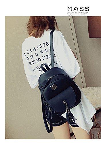 bag tassel Black popular camping for Travel backpack fashion women's student backpack bag version 232612cm and best girls shopping gift surface Korean pink RFVBNM of the soft shoulder backpack PU double Hqn7C7B