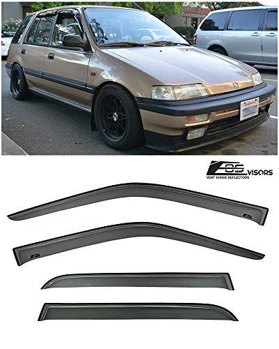 for 1988-1991 Honda Civic 5Dr Wagon | EOS Visors JDM Tape On Style Smoke Tinted Side Window Vent Visors Rain Guard Deflectors (91 Honda Civic Wagon)