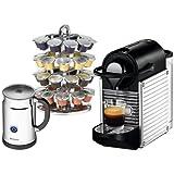 Nespresso C60 Pixie Chrome Automatic Espresso Machine with Bonus Aeroccino Plus Milk Frother and 40 Capsule Carousel Chrome