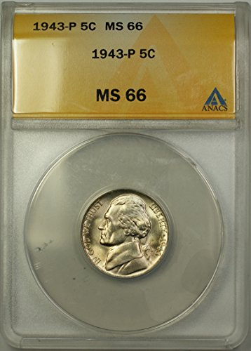 1943 P Jefferson Wartime Silver 5c Coin (RL-A) Nickel MS-66 ANACS