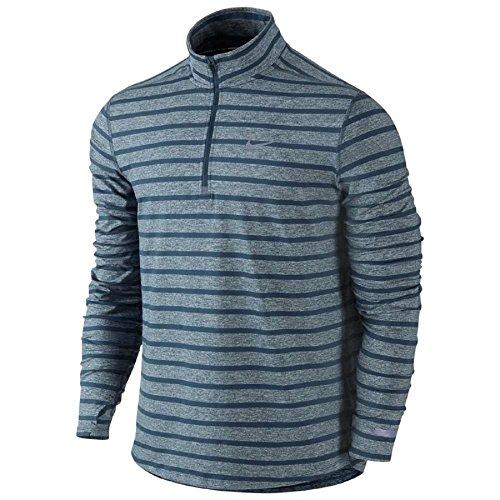 Nike Mens Element Stripe Half Zip Running Shirt (medium, Blue)