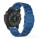 Garmin Fenix 3 Watch Band, MoKo Universal Stainless Steel Watch Band Strap Bracelet with Spring Pin for Fenix 3 / Fenix 3 HR Smart Watch, Watch Not Included - BLUE