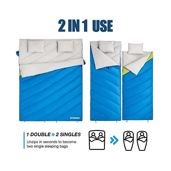 FUNDANGO Double Sleeping Bag For Person Backpacking Camping Or Hiking King Size XL All Weather Sleeping Bag 3 4 Person Waterproof For Adults