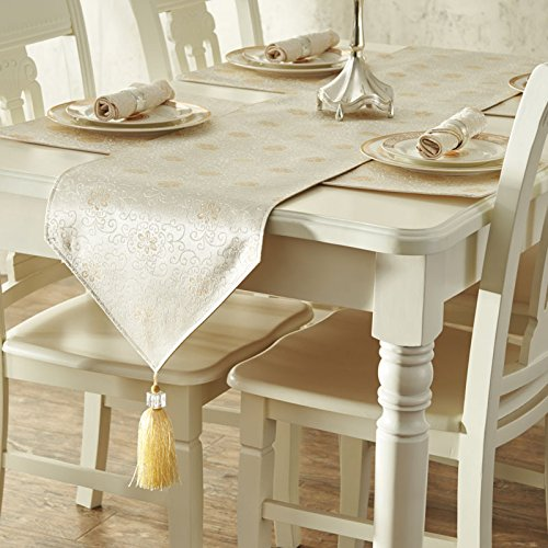Christmas Tablescape Decor - Elegant European Style Champagne Gold Tapestry Tassel Table Runner
