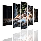 Alonline Art - Cougar Split 5 Panels FRAMED STRETCHED CANVAS (100% Cotton) Gallery Wrapped - READY TO HANG | 42''x28'' - 107x71cm | 5 Panels Combination For Living Room Giclee Framed Wall Decor