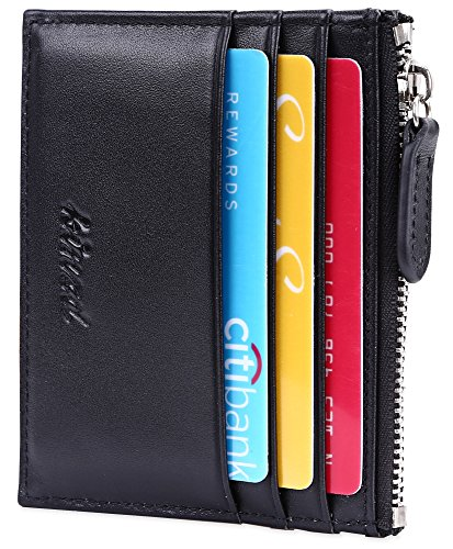 (Slim Card Wallet with ID window Card Holder with Zipper RFID Blocking Leather)