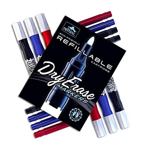 Dry Erase Marker Set - Includes Six Pre-Filled Bullet Tip White Board Markers in Red, Blue, and Black, with Eight Ink Refill Tank Cartridges and Bonus Mini Eraser - 15 Pieces Total