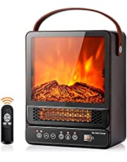 """DORTALA 14.5"""" Mini Portable Electric Fireplace, 750W/1500W Tabletop Stove Heater with 3D Flame & Remote Control, Electric Fireplace Heater with Overheat Protection,12H Timer,Walnut"""