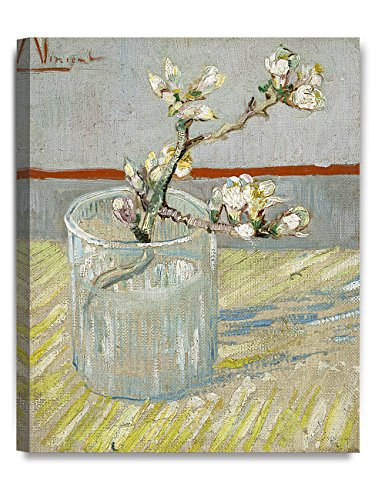 DECORARTS - Sprig of Flowering Almond Blossom in a Glass, Vincent Van Gogh Art Reproduction. Giclee Canvas Prints Wall Art for Home Decor 20x16