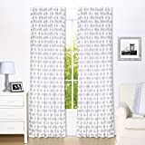 Grey Elephant Print Blackout Window Drapery Panels - Two 84 by 42 Inch Panels