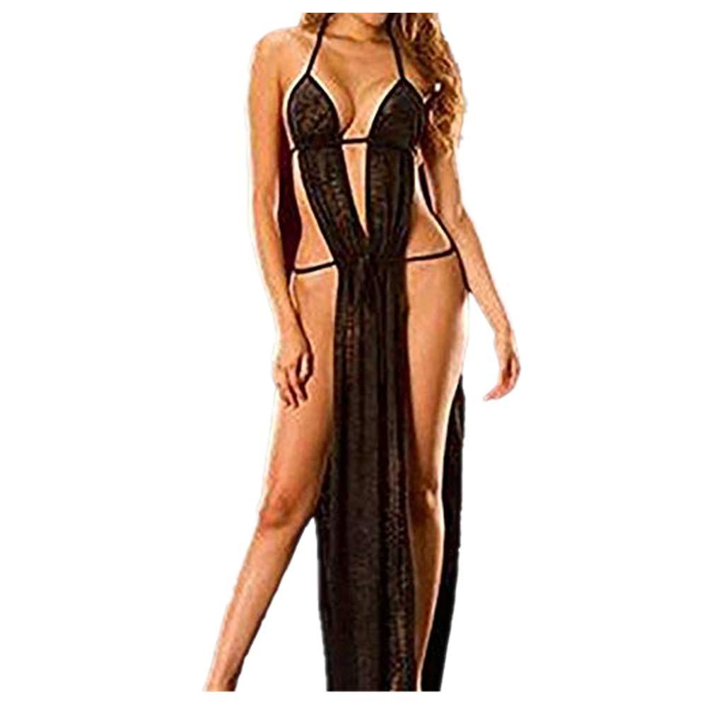 Women Sexy Lace Lingerie Sleepwear Nightwear +Briefs Temptation Underwear Ladies Solid Babydoll Long Dress G-String