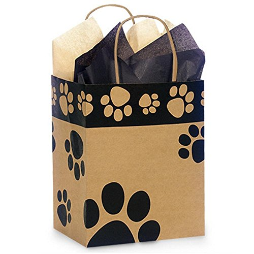 Paw Print Kraft Paper Shopping Bags - Cub Size - 8 x 4 3/4 x 10 1/4in. - 250 Pack by NW