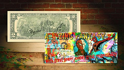 - SPIDER MAN Amazing Fantasy Genuine $2 Bill SIGNED by Rency with Holder *MUST-SEE