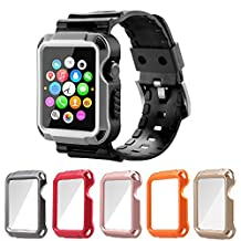 Apple Watch Case Series 1 Series 2, iitee Universal iWatch Cover and Band with Screen Protector 5 in 1 kit (42mm)
