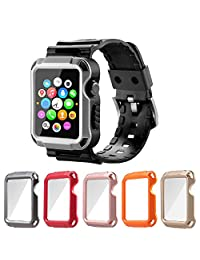 Apple Watch Case Series 1 Series 2, iitee Universal iWatch Cover and Band with Screen Protector 5 in 1 kit(38mm)