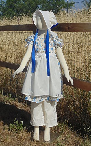 Girls 5-8 Adjustable Pretty in Blue prairie dress by Fru Fru and Feathers Costumes & Gifts